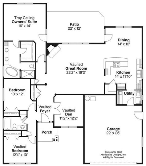 house plans 1100 1400 square feet 3 bedroom 1 story 2