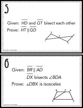 congruent triangles proofs task cards by mrs e teaches math tpt