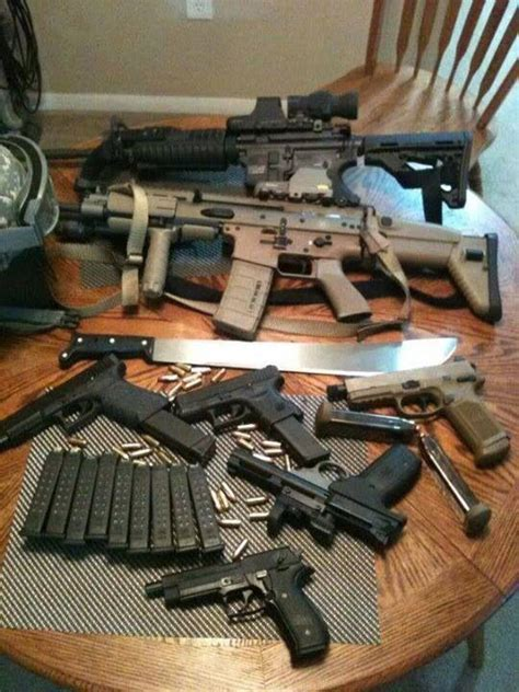 gear zombie guns table apocalypse tactical weapons ammo nice gun survival collection arsenal kit fn revolver bushcrafting fnforum adventures airsoft
