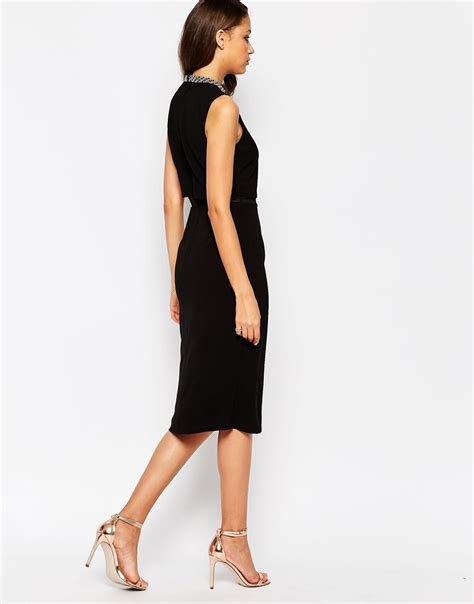 black tall standing l asos tall embellished stand collar midi dress in natural
