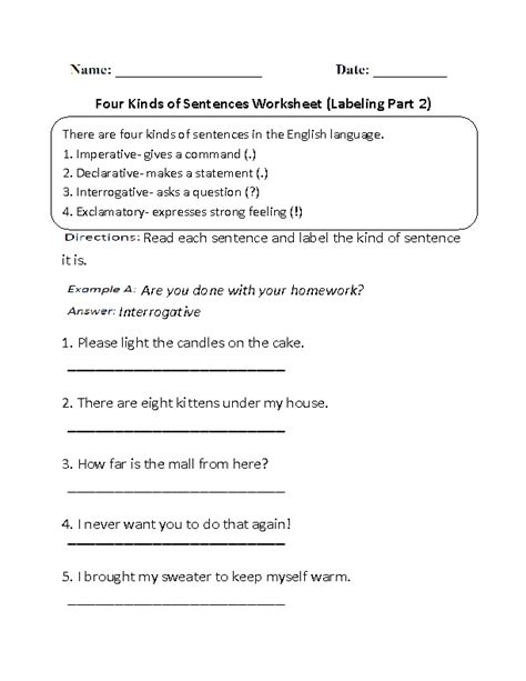 different kinds of sentences worksheet places to visit