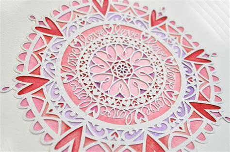 love mandala digital papercutting template