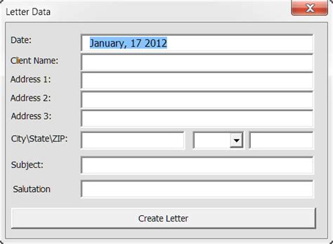 address basic letter with userform address basic letter with userform