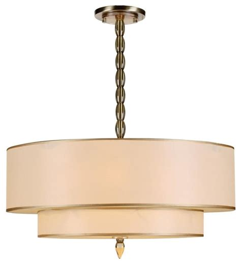 luxo five light antique brass drum shade chandelier