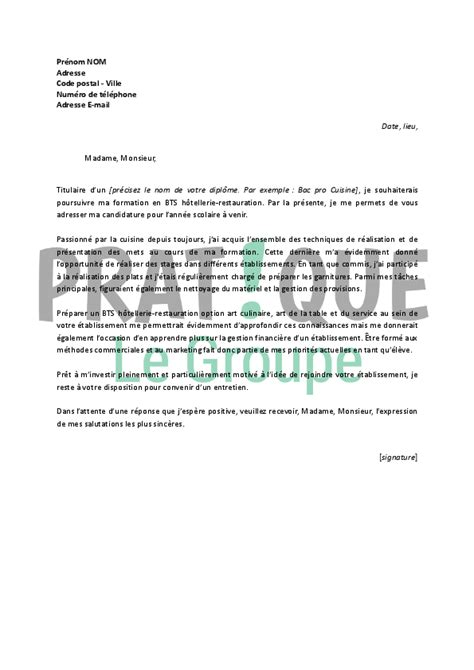 lettre de motivation en cuisine lettre de motivation pour un bts hôtellerie restauration