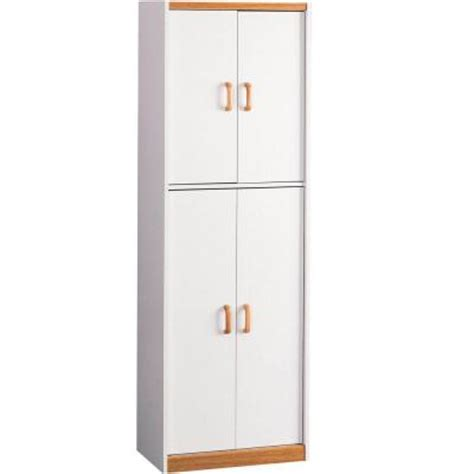 White Pantry Cabinet Home Depot by Ameriwood 4 Door Storage Pantry In White 4506 The Home Depot