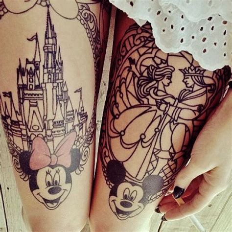 minnie mickey mouse tattoos  thighs