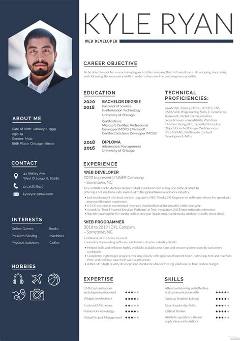 Build Resume Template Free by Web Developer Resume Template In Adobe Photoshop