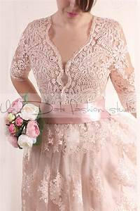 plus size lace short blush pink wedding party lace dress With plus size blush wedding dresses