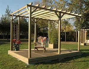Construire Une Pergola En Bois : pergola tonnelle bois leroy merlin penmie bee ~ Premium-room.com Idées de Décoration