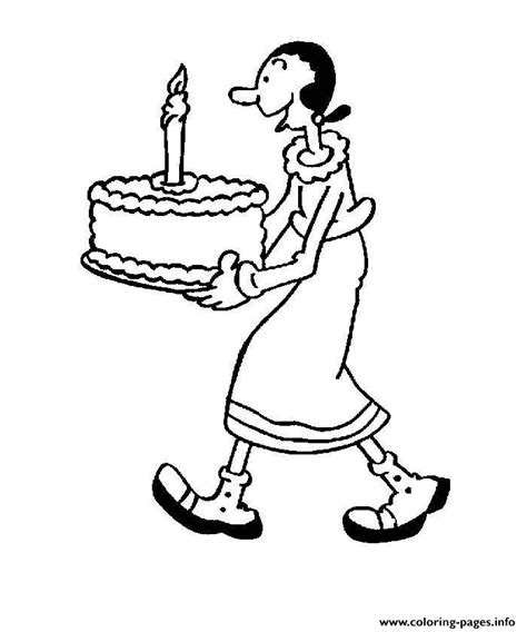 olive  birthday cake popeye df coloring pages