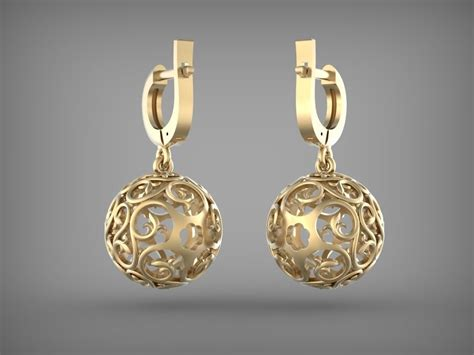 earrings ball  model  printable stl dm cgtradercom