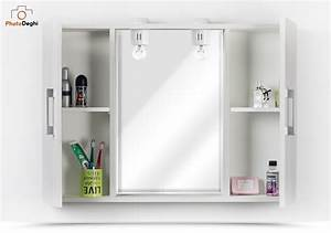 Specchiera Bagno 84 X 58 Cm Sospesa Color Bianco Legno