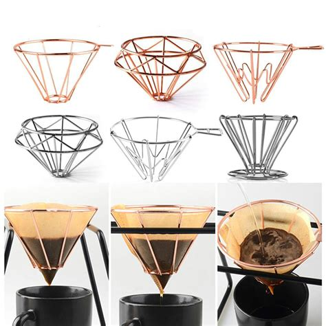 There are two different shapes of holders/filters: V60 Espresso Coffee Filter Net Stainless Steel Dripper Filter Cup Holder Solid Drip Coffee Maker ...