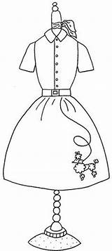 Coloring Pages Dress Poodle Skirt Form Pattern Applique 1950s Google Embroidery Sock Hop Colouring 50s Designs Dresses Stitch Skirts Forms sketch template