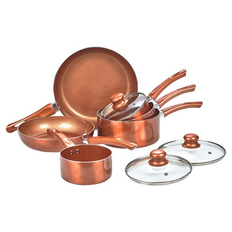 pcs urbn chef ceramic copper induction cooking pots lid saucepans cookware set ebay
