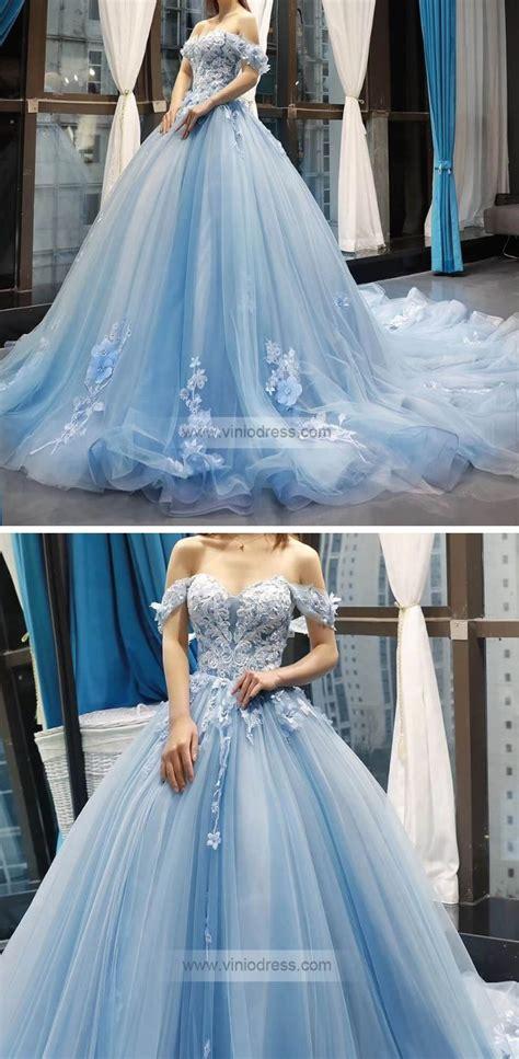 light blue floral prom dresses cinderella quinceanera