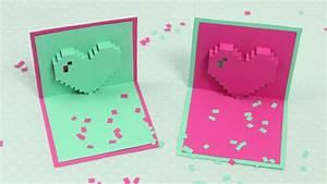 Pop Up Karte : pixel herz pop up karte zum muttertag diy muttertagskarte youtube ~ Markanthonyermac.com Haus und Dekorationen