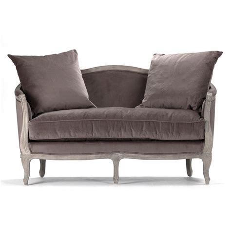 Country Settee by Rue Du Bac Country Chocolate Velvet Feather Settee
