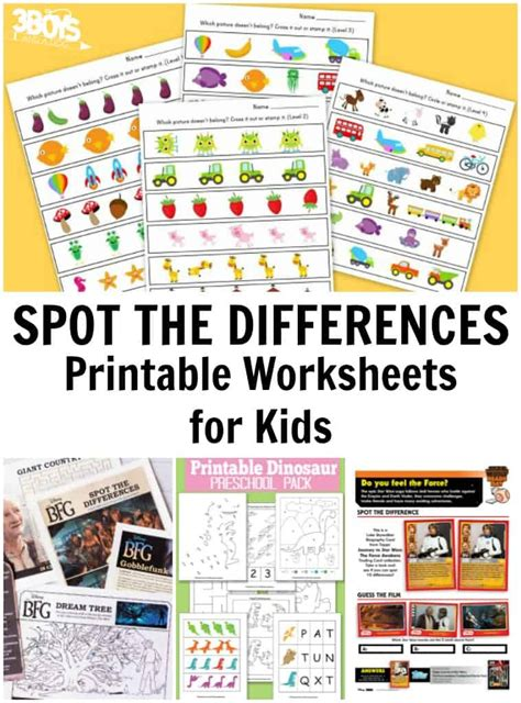 spot  differences printable worksheets  boys