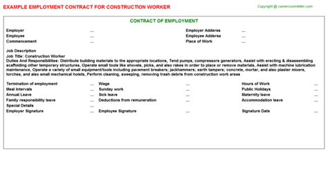 Construction Worker Employment Contracts