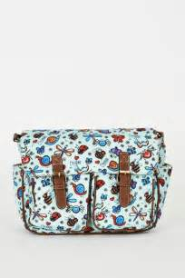 bugs pattern zip fastening blue satchel bag ladies