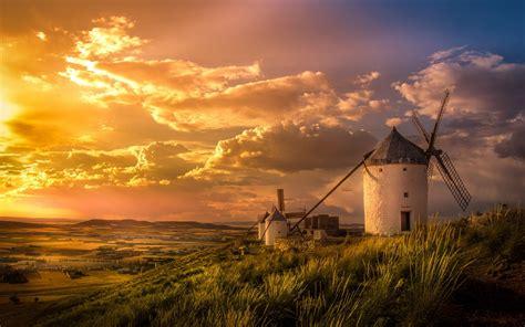 wallpaper spain windmill valley clouds field hill desktop wallpaper nature goodwpcom