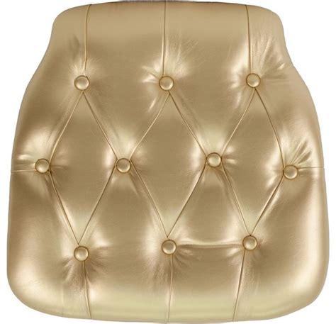 gold tufted vinyl chiavari chair cushion