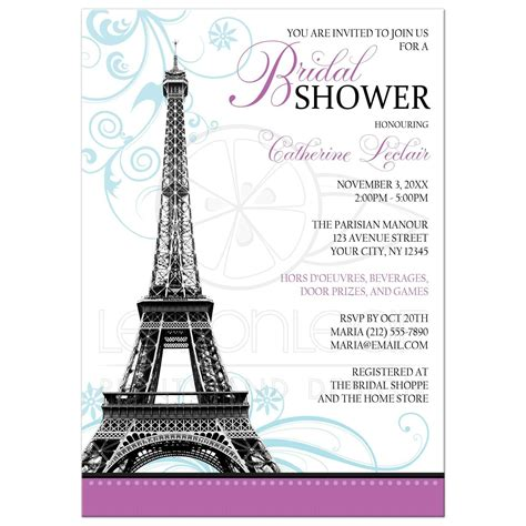 bridal shower invitations modern eiffel tower parisian