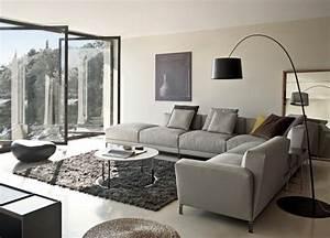 Deco salon gris avec canape tout confort 55 idees pour vous for Tapis de sol avec renover canapé d angle