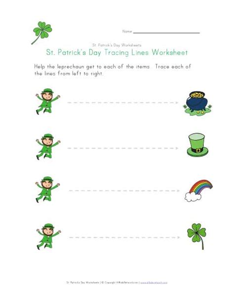 st patrick s day tracing lines worksheet