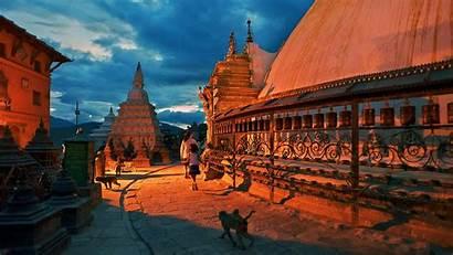 Nepal Kathmandu Pokhara Swayambhunath Temple Wallpapers Monkey