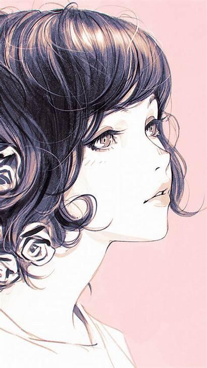 Kuvshinov Ilya Illustration Flower Pink Iphone Lady