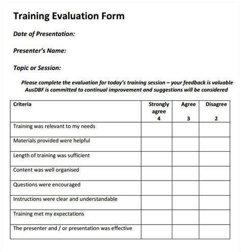 Training Course Request Form Template by Training Evaluation Form 15 Download Free Documents In