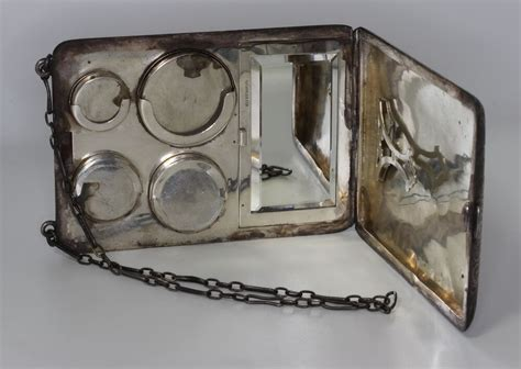 Vintage Metal Makeup Clutch/travel Case Vanity Sterling