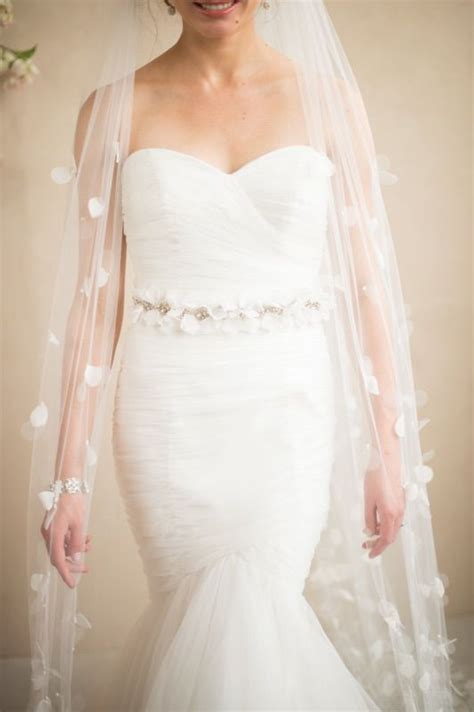 Tulle And Organza Flower Petal Cathedral Veil Bridal Veils