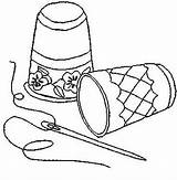 Sewing Notions Tools Pages Coloring Embroidery Needlework Colouring sketch template