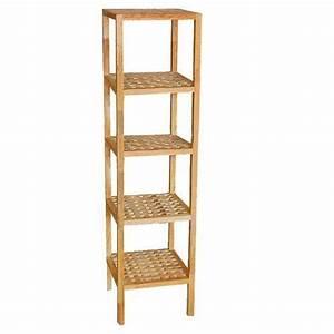etagere 5 niveaux meuble rangement salle de bain en bois With meuble de rangement salle de bain cdiscount
