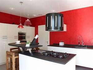 stunning cuisine blanc mur gris et rouge ideas With decoration cuisine rouge gris
