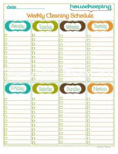 Blank Printable Cleaning Schedule