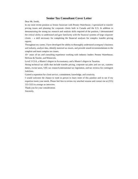 Tax Consultant Resume Cover Letter by Senior Tax Consultant Cover Letter Sles And Templates