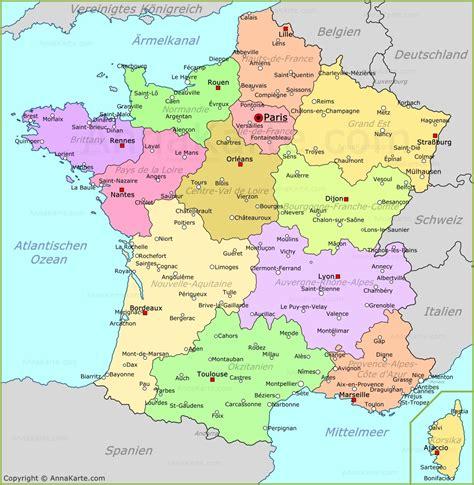 frankreich karte bretagne europakarte mit hauptstaedten