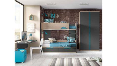lit superposé avec lit superposé avec bureau pour 2 enfants glicerio so nuit
