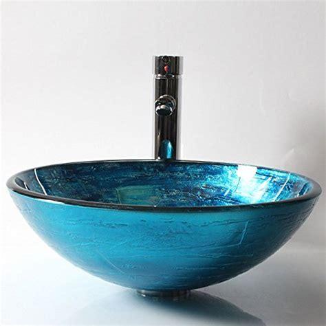 glas waschbecken rund homelavafans modern design geh 228 rtetes glas waschbecken rund blau mit ablaufgarnitur montagering