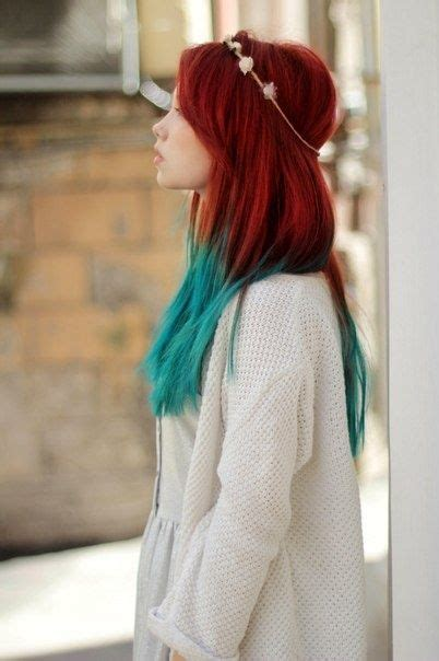 Red And Teal I Would Do Read With Teal Streaks Hairs