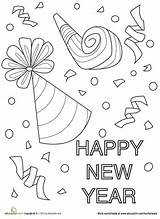 Coloring Worksheets Confetti Preschool Happy Worksheet Crafts Education Eve Sheets Adult Colouring Kindergarten Winter Celebration Clock Colors Lovely Activity January sketch template