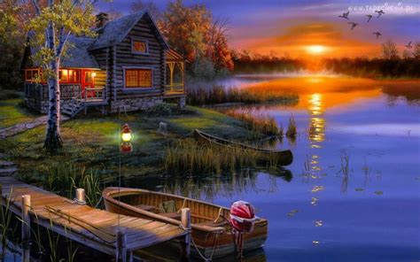 house lake sunset wallpaper  wallpaperscom
