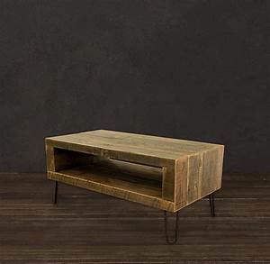 Reclaimed wood coffee table open storage area modern for Reclaimed wood coffee table and end tables