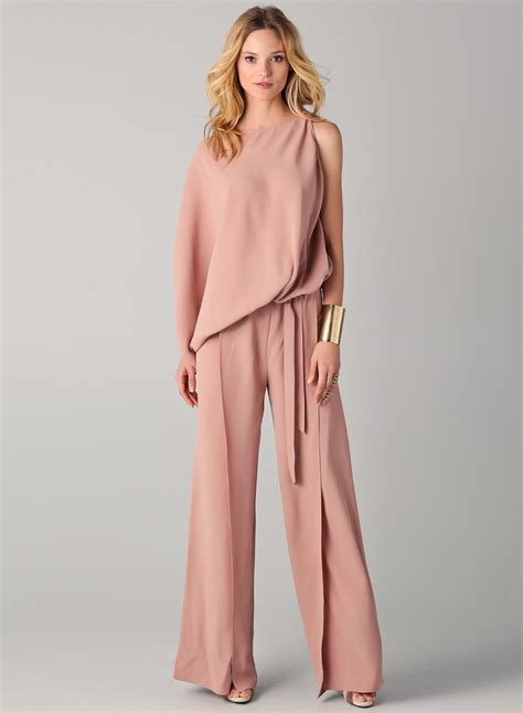 womens wide leg jumpsuit 39 s one sleeve wide leg jumpsuit with belt
