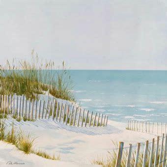 serene beach dune fence  ocean art painting